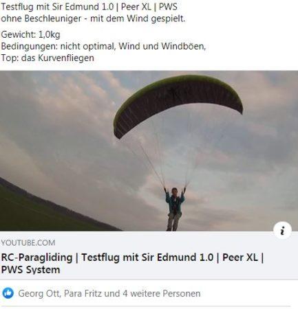 Testflug mit Sir Edmund 1.0 | Peer XL | PWS-System